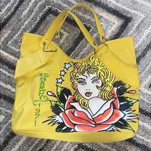 Yellow Throwback Ed Hardy Tote